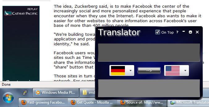Silverlight Translator On Desktop As A Gadget