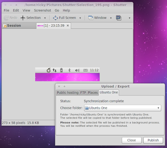 Shutter UbuntuOne Support