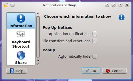 KDE 4.5 Notification Configuration