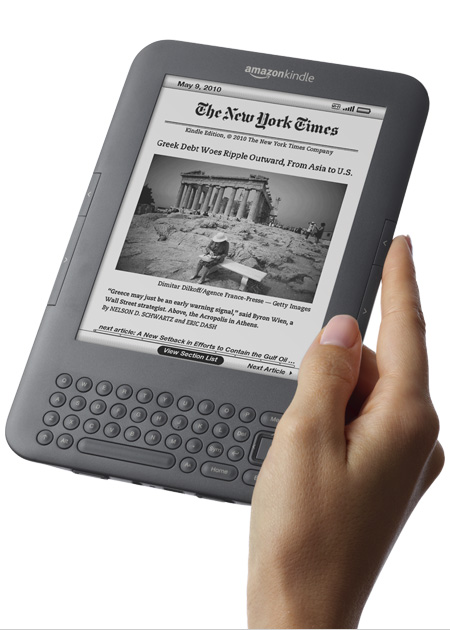 Amazon Kindle in hand