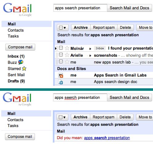 Search results in GMail after enabling Apps search in Gmail Labs