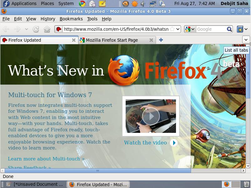 Firefox 4 In Fedora Linux [Fedora 14 & Fedora 13]