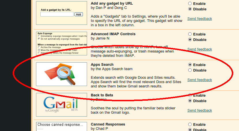 Enable apps search from GMail labs