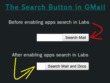 Gmail Search Buttons: Before & After enabling the Apps Search labs