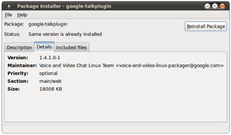 GMail Videochat plugin installed in Ubuntu