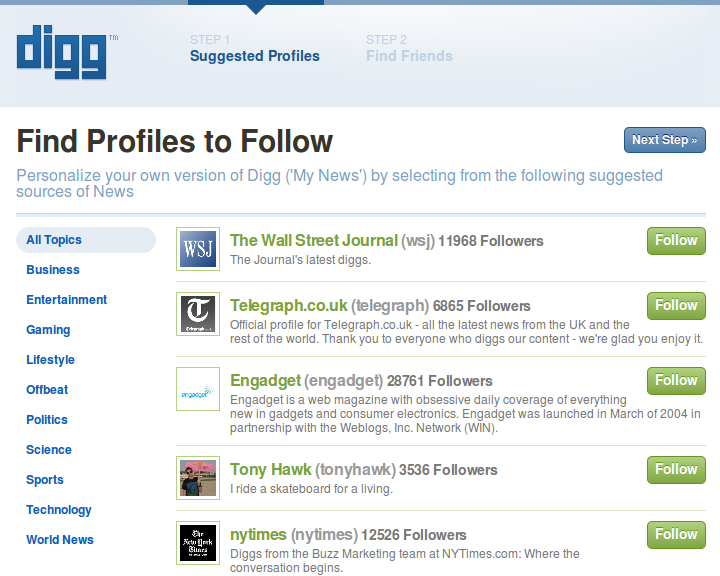 new digg follow profiles