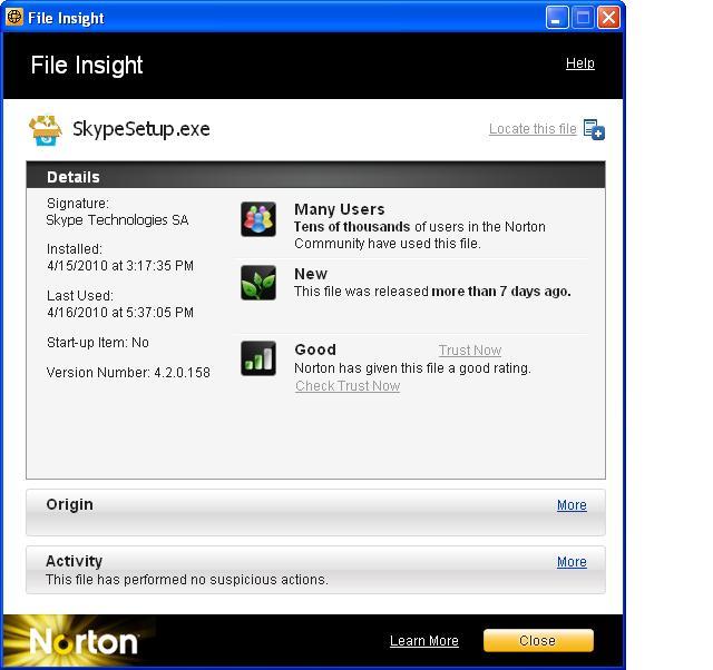 Norton Internet Security File Insight