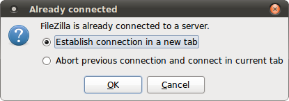 Opening new tab in Filezilla