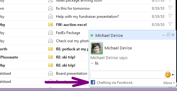 Facebook chat inside Hotmail