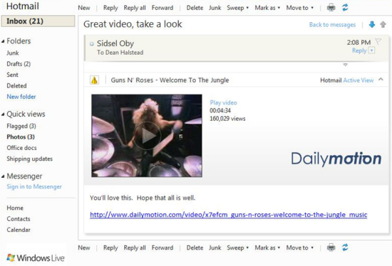 Video inside Hotmail