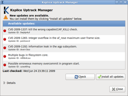 Uptrack Kernel Updates Manager