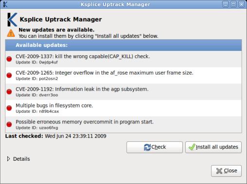 Uptrack Kernel Updates Manager