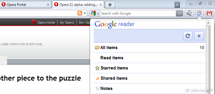 Google Reader iOS mode in Opera Browser
