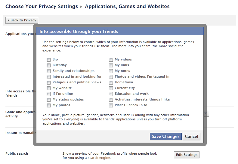 Facebook Privacy Settings for friends when they use Apps and Games