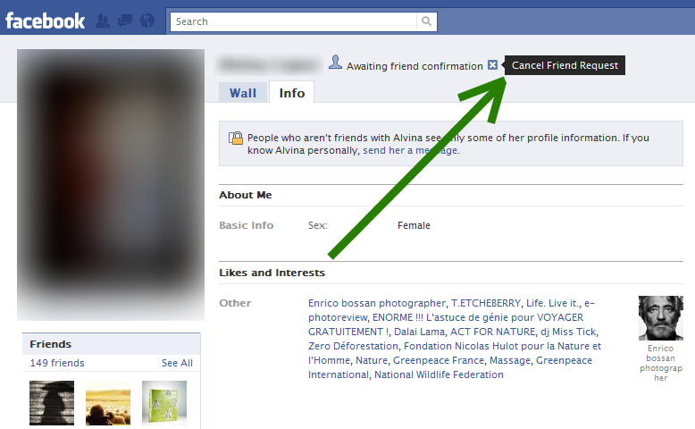 "Facebook's ""Cancel Friend Request"" option"