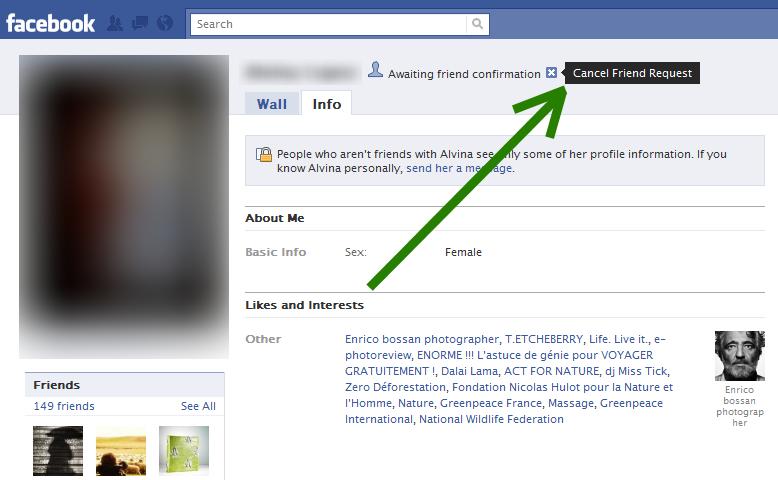 "Facebook's ""Cancel Friend Request"" option"