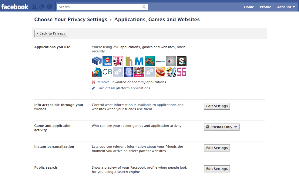 Facebook Privacy Settings for Games, Applications & Websites