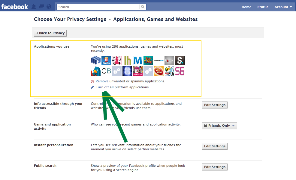 Facebook Privacy settings disable games, applications at once
