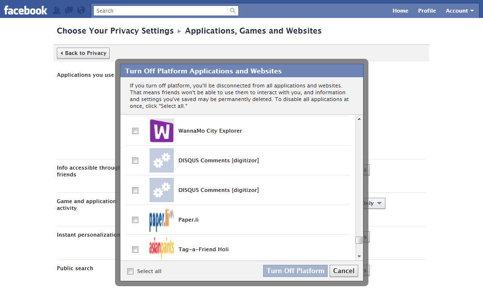 Facebook turn-off or disable all applications at once