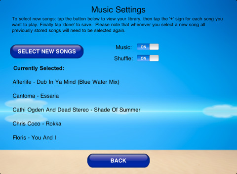 iPad Yoga App music settings