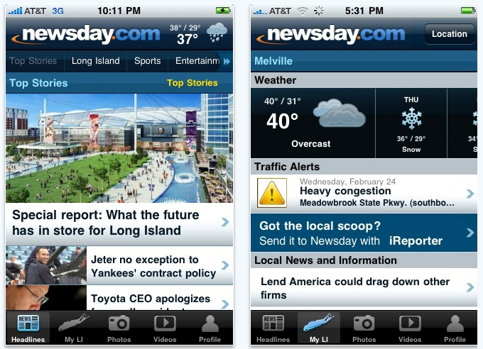 Newsday.com app for iPad and iPhone