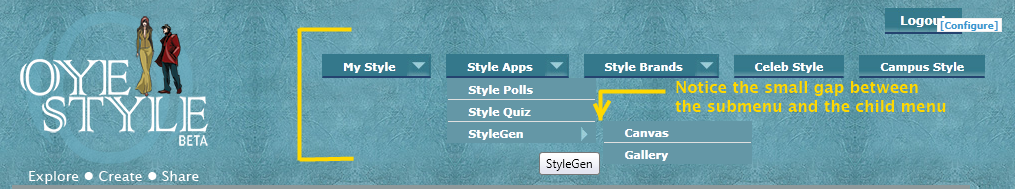 Nice-Menus gap in Oyestyle.com