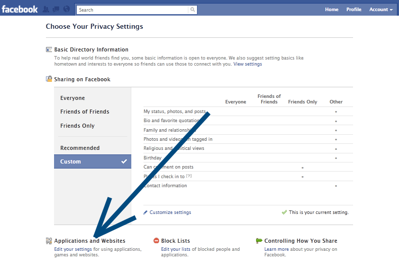 Applications, Games privacy settings for Facebook