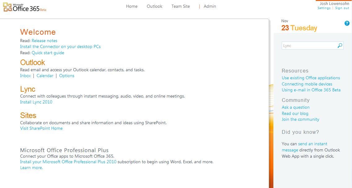 Office 365 - Homescreen