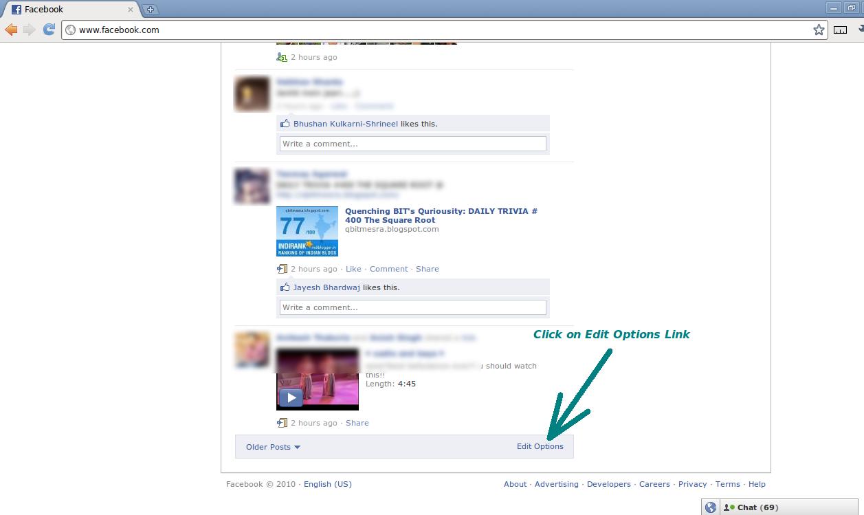 "Facebook ""Edit Options"" Link"