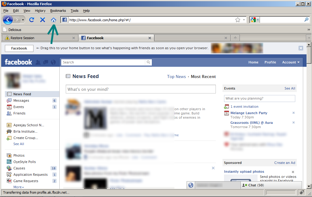 Screenshot: Facebook asks you to make Facebook.com your homepage