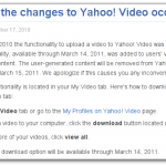 Yahoo! Shutting Down Yahoo! Video?
