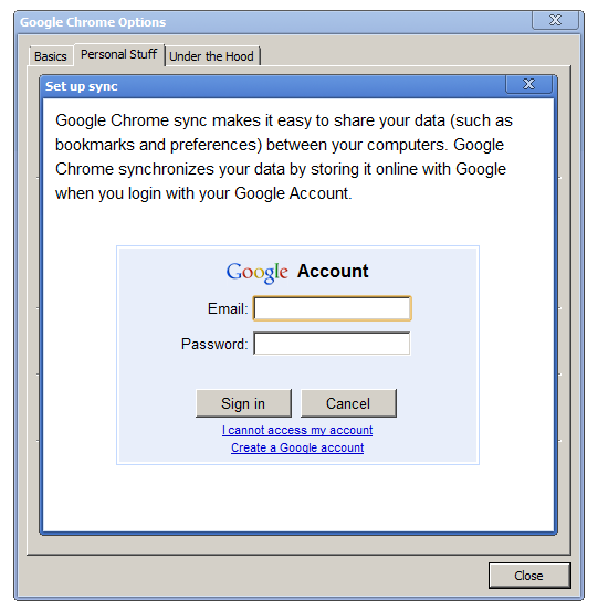 Chrome: Enter Google Account credentials