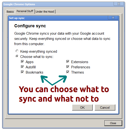 Google chrome: Choose options to sync