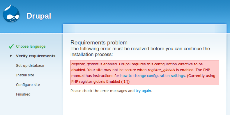 "Drupal ""Register Globals ON"" Error"