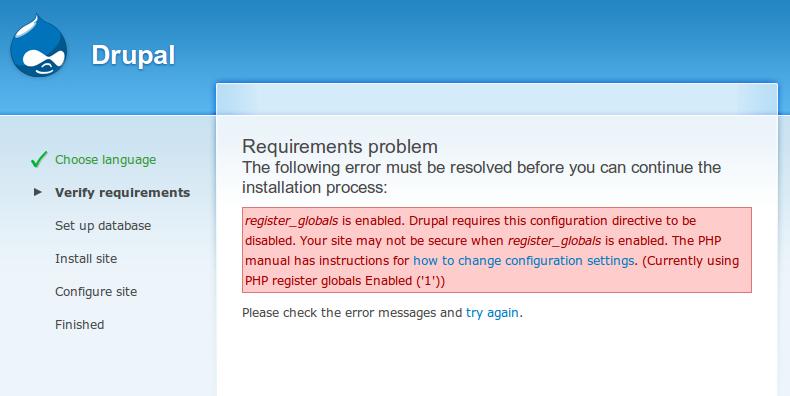 """Drupal """"Register Globals ON"""" Error"""
