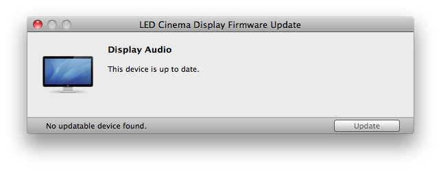 LED Cinema Display Firware 1.0 Installed