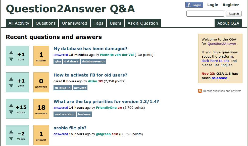 question2answer screenshot
