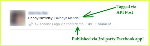 Tag Users in Facebook posts via Facebook Graph API