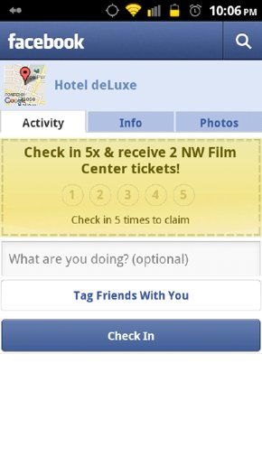 Facebook Android App: Get deals on checkin using Facebook Places