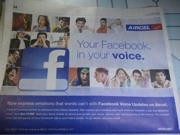Facebook Voice Updates - Print ad
