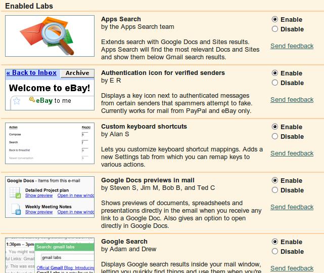 GMail Labs list