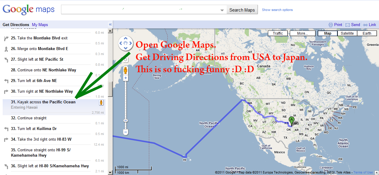 Google Maps suggests you to take a Kayak (a boat) from USA to Japan!