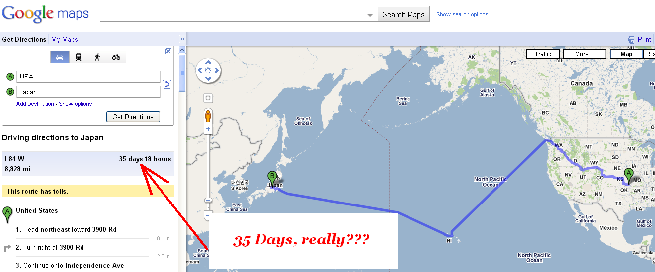 google maps suggest you to take a kayak from usa to japan