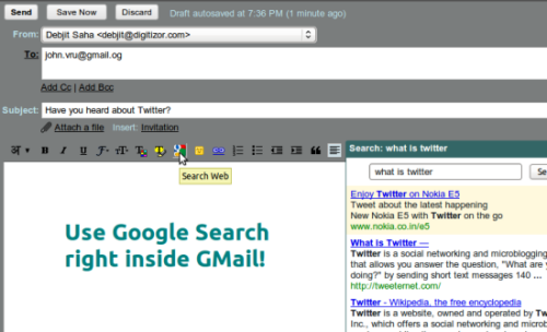 Google Search right inside GMail