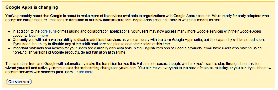 Google Apps Upgrade Message