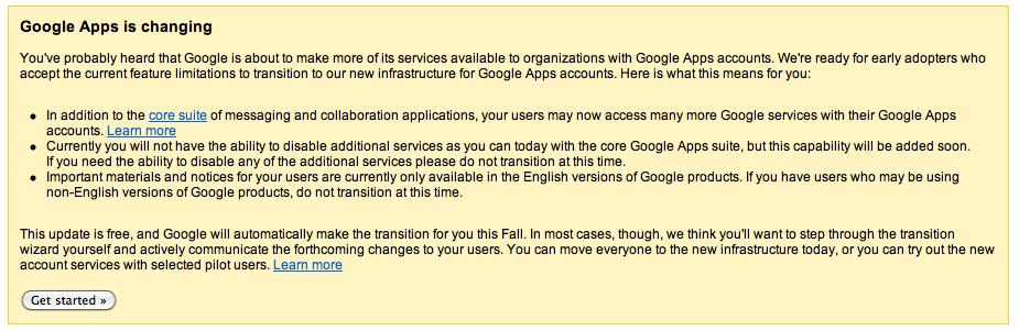 Google Apps Upgrade Message