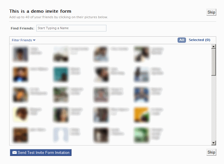 FBML based Facebook friend invite form rendered in an iFrame application