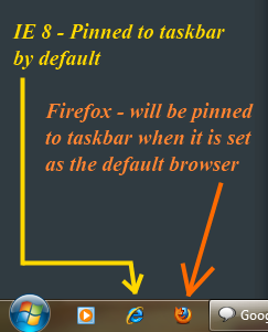 Firefox pinned to Win 7 Taskbar by default