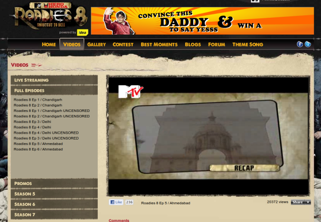 Watch MTV Roadies 8 Online, Mobile