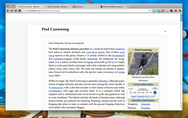 Wikipedia Beautifier at action on Google Chrome